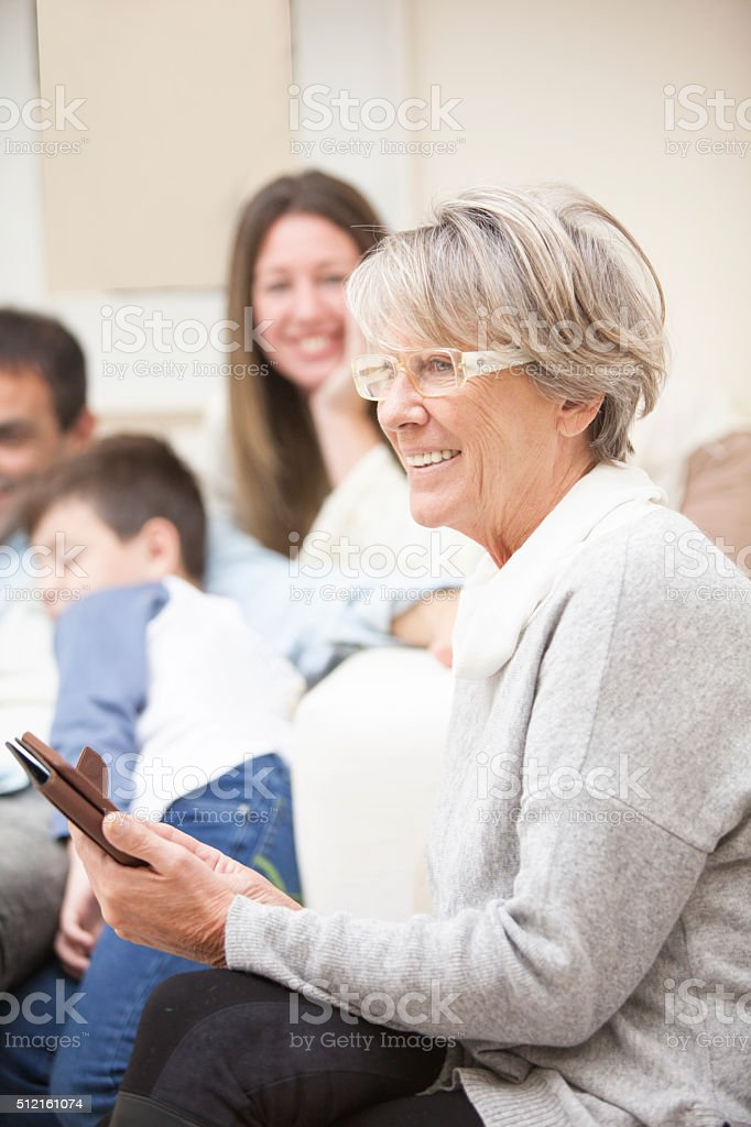 Happy multigenerational family stock photo