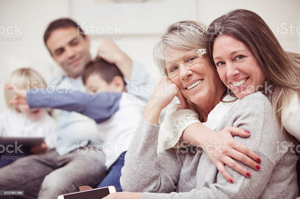 Happy multigenerational family portrait stock photo
