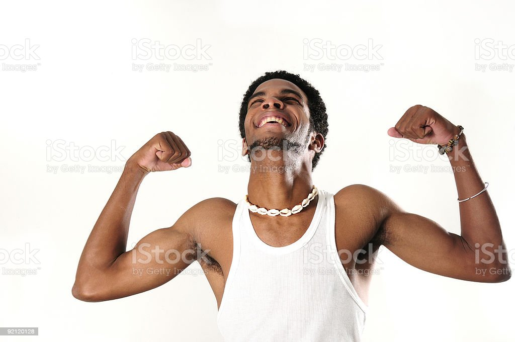 Happy muscular african man stock photo