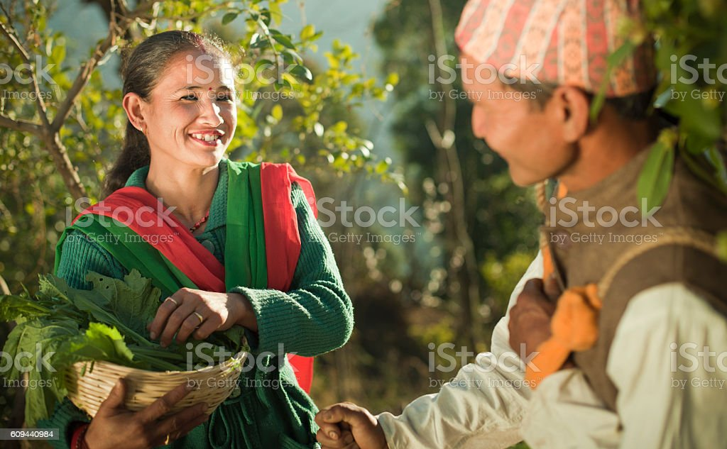 Happy Nepalese peasant couple at work with their daily needs. stock photo