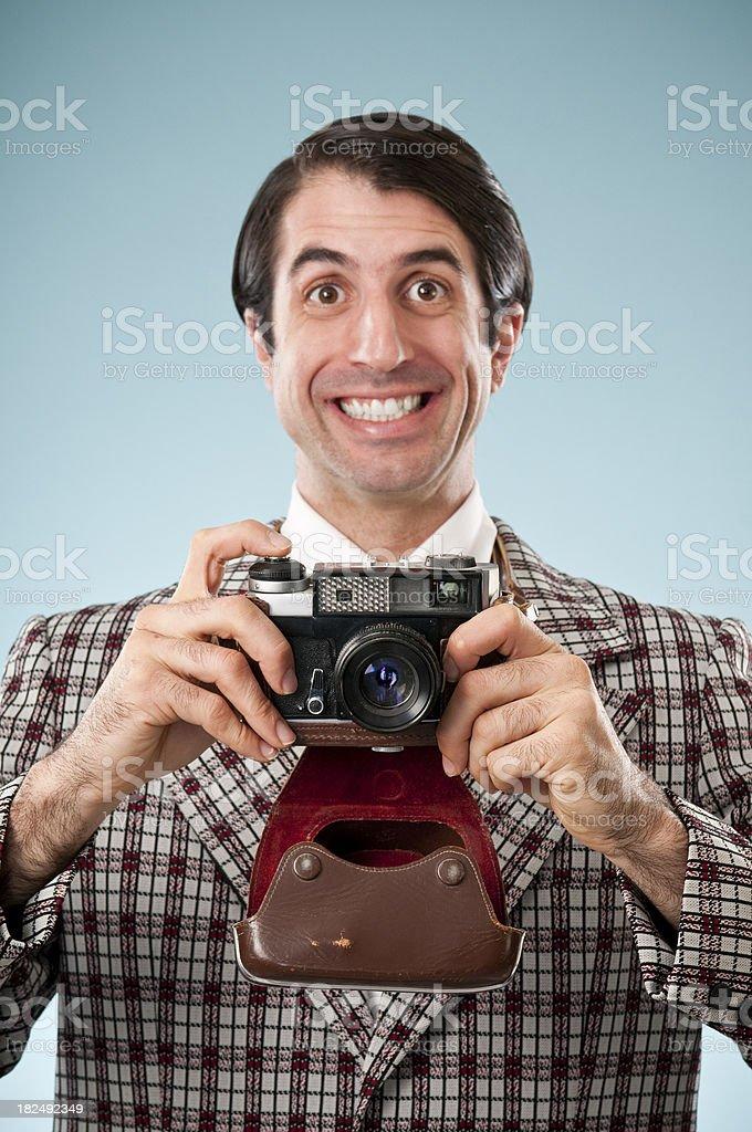 Happy Nerd Tourist With Camera stock photo