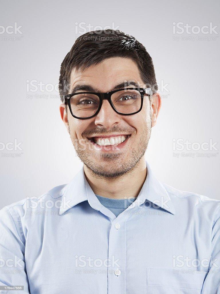 Happy nerdy businessman royalty-free stock photo