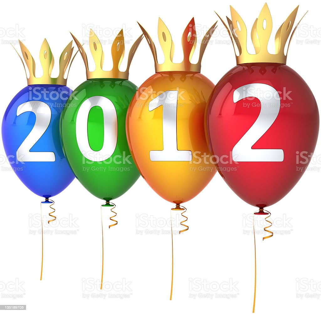 Happy New 2012 Year party balloons luxury decoration royalty-free stock photo
