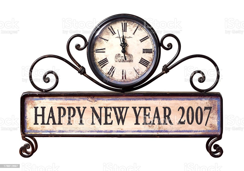 happy new year 2007 background with path on clock stock photo