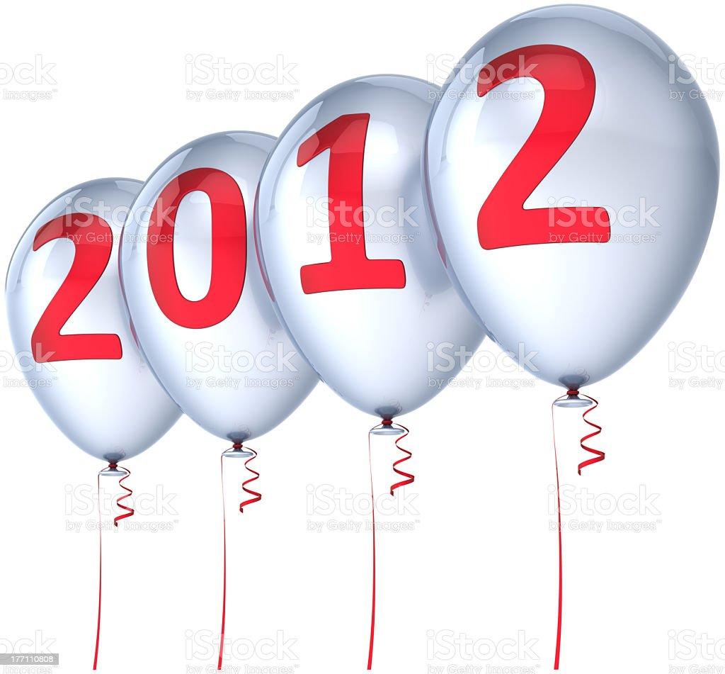 Happy New Year 2012 white balloons decoration royalty-free stock photo