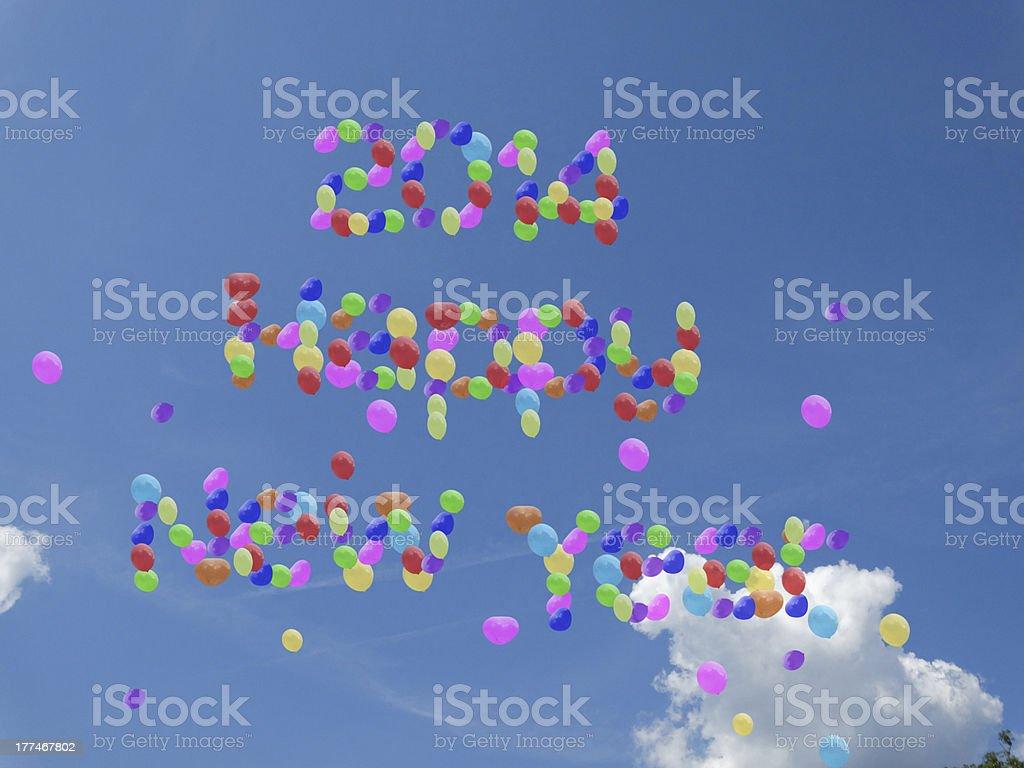 happy  new year 2014 balloons in sky royalty-free stock photo