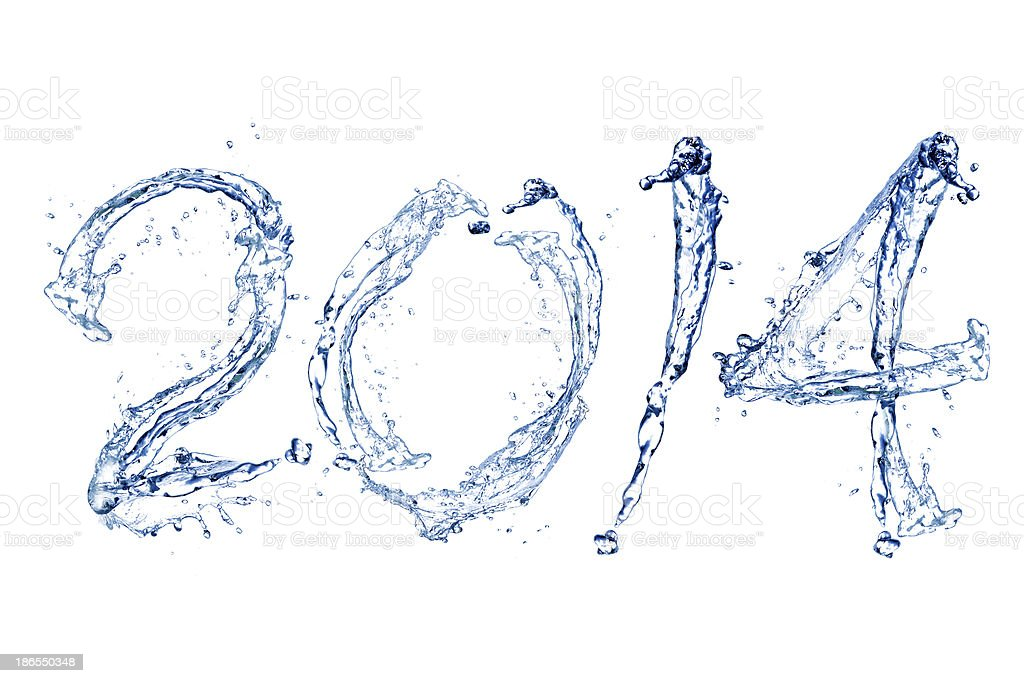 Happy New Year 2014 by water drop royalty-free stock photo