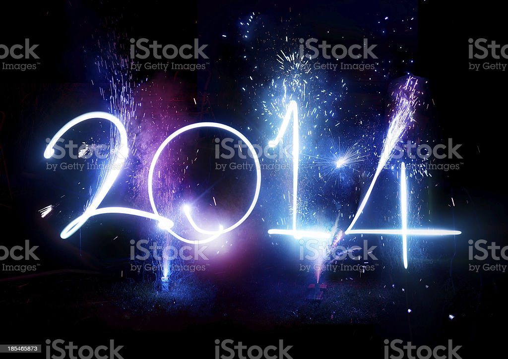 Happy New Year 2014 Fireworks royalty-free stock photo