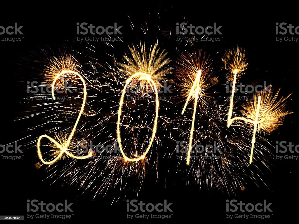 Happy New Year 2014 sparklers firework stock photo