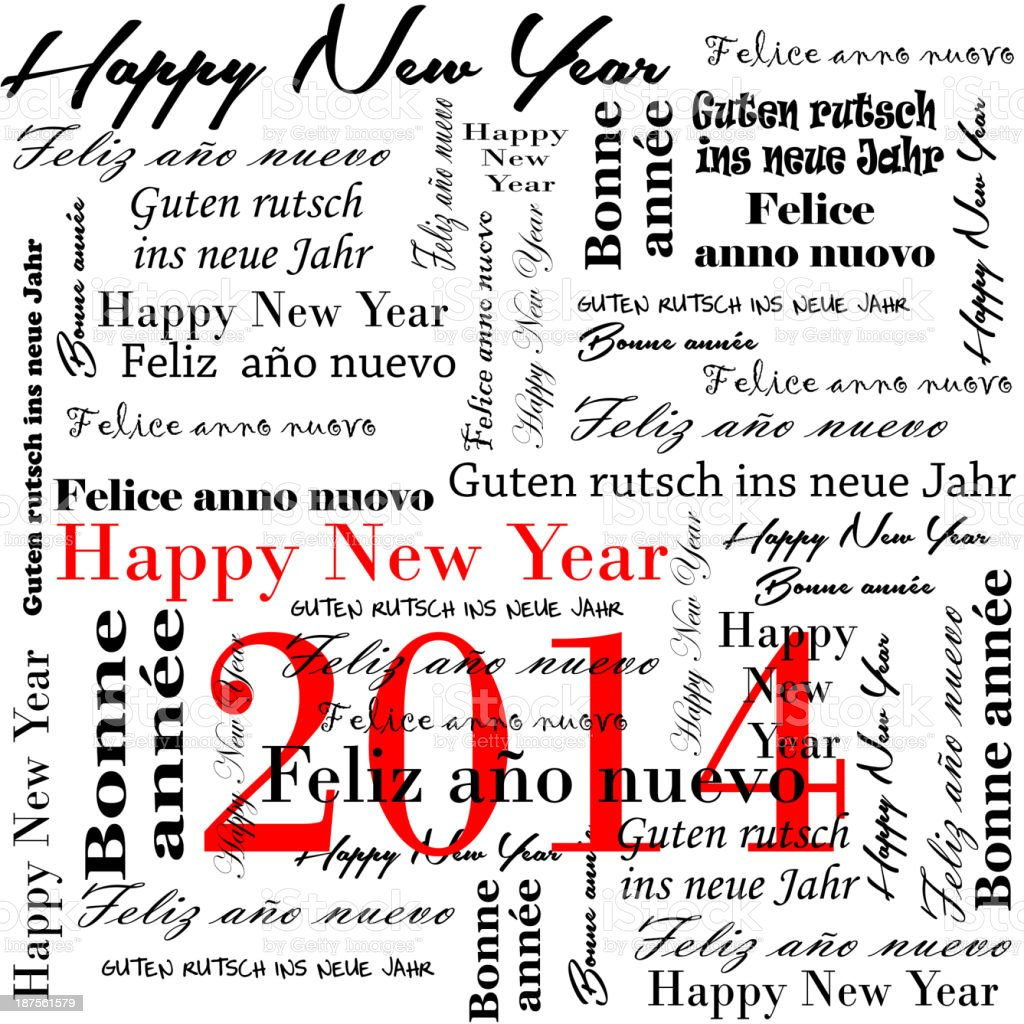 happy new year 2014 words in many languages royalty-free stock photo