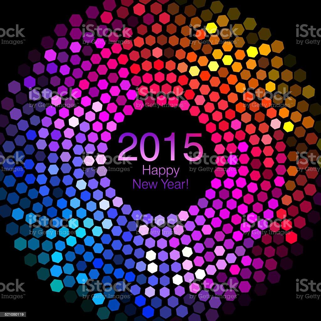 Happy New Year 2015 - Hexagon Disco lights stock photo