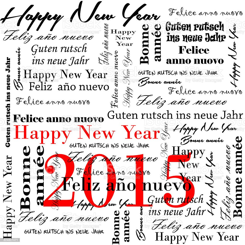happy new year 2015words in many languages stock photo