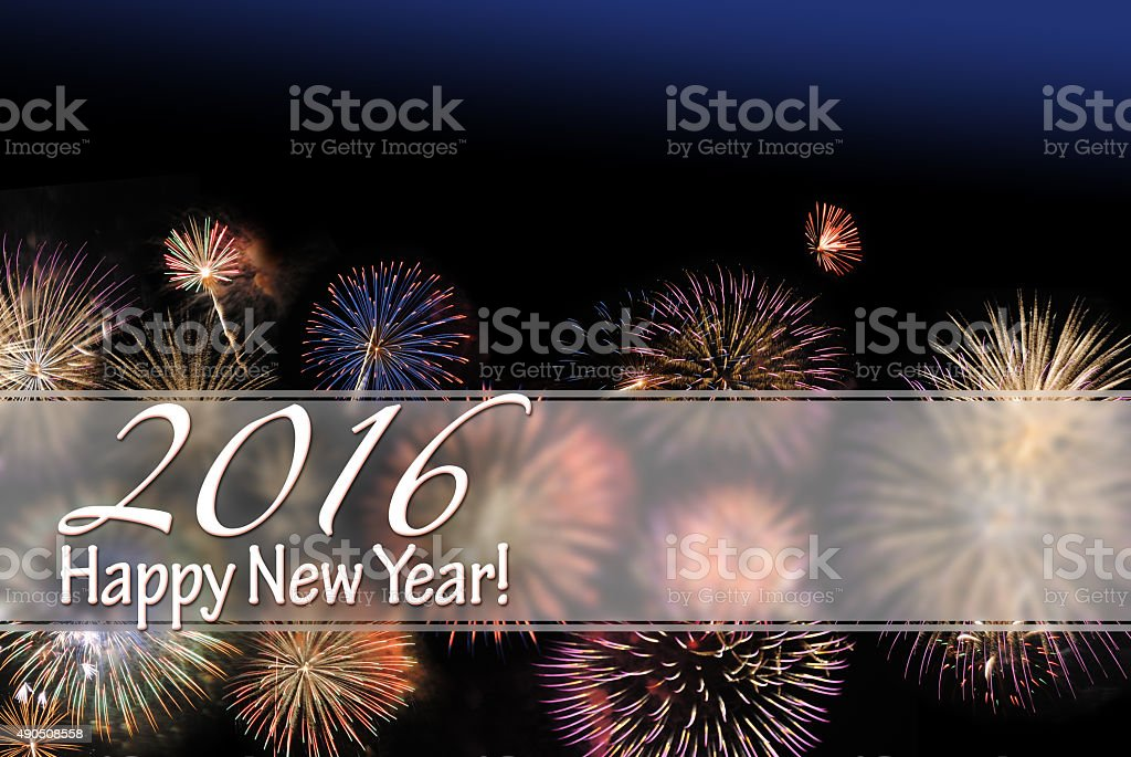 Happy New Year 2016 card and web banner stock photo