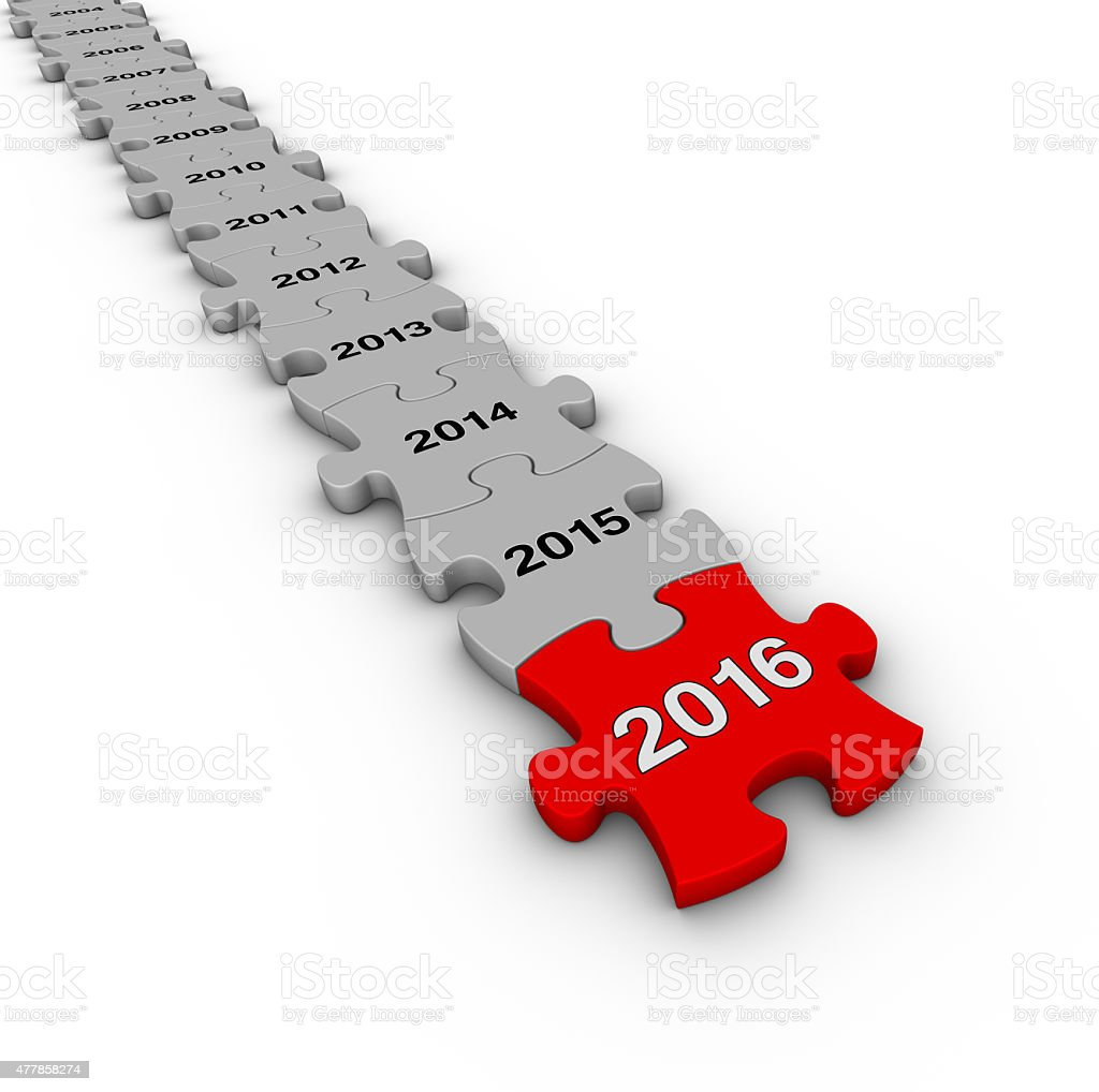 Happy New Year 2016. Jigsaw puzzle timeline. stock photo