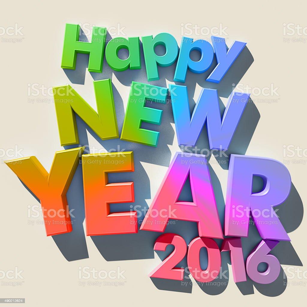 Happy New Year 2016 multicolored stock photo