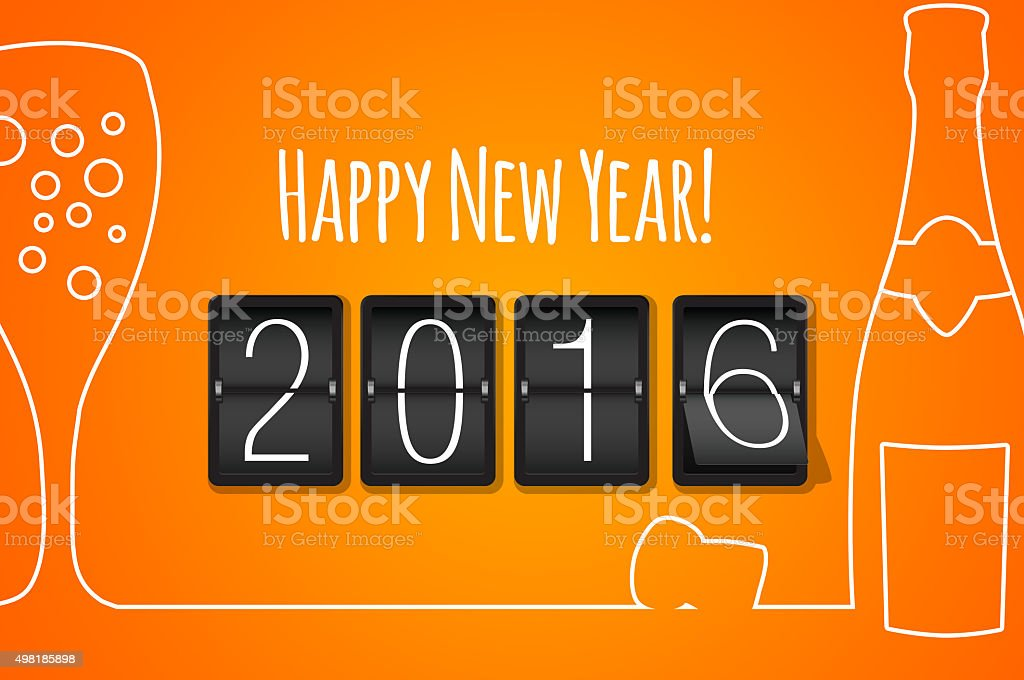 Happy new year 2016- orange flat design background stock photo