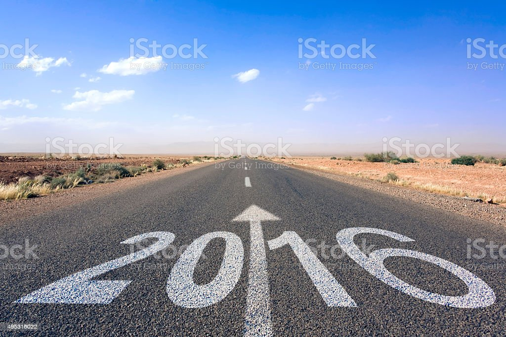happy new year 2016 road to better future stock photo