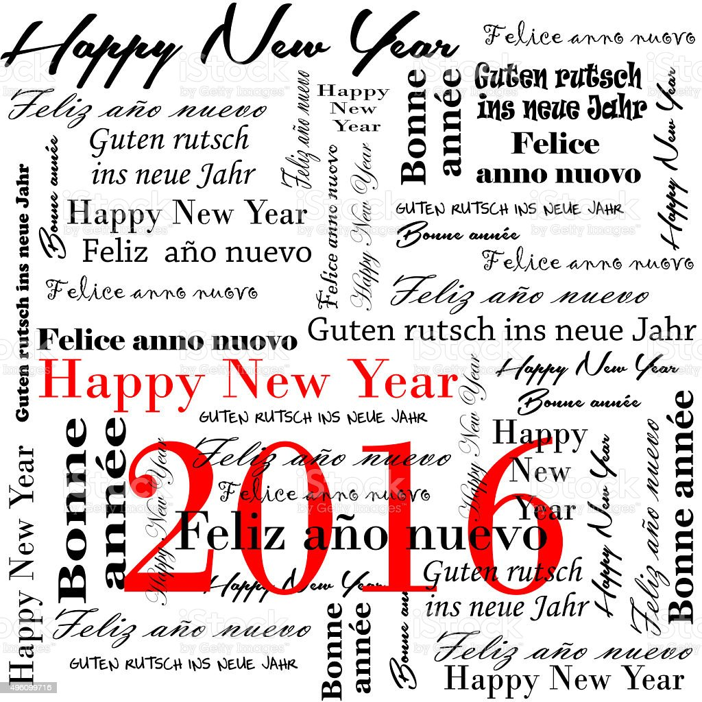 happy new year 2016 words in many languages stock photo