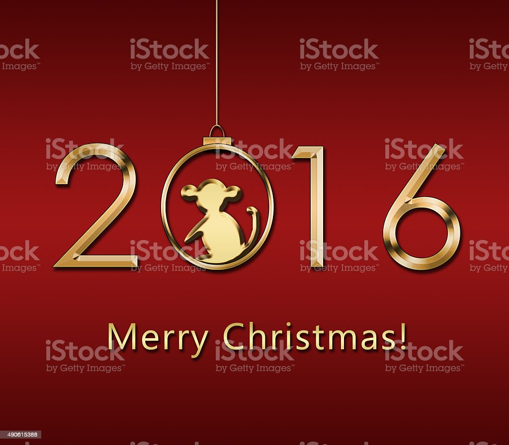 Happy New Year 2016 . Year of the Monkey stock photo