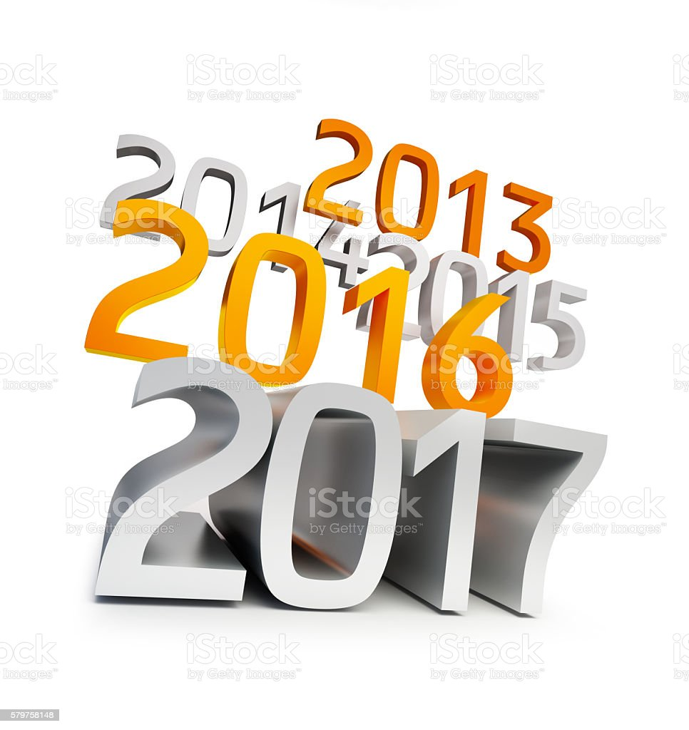 happy new year 2017. 3d Illustrations on a white background stock photo