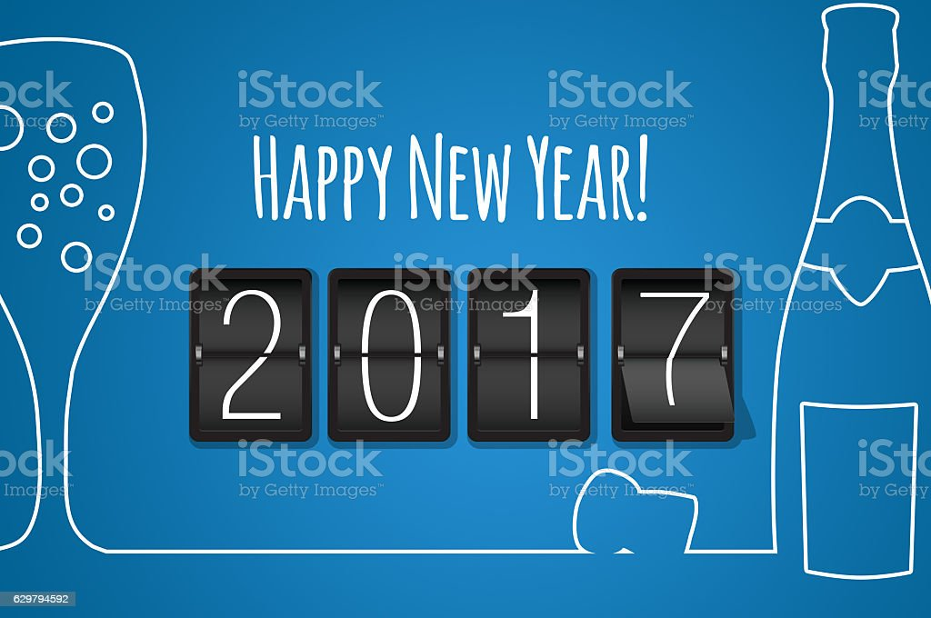 Happy new year 2017  blue line art background stock photo