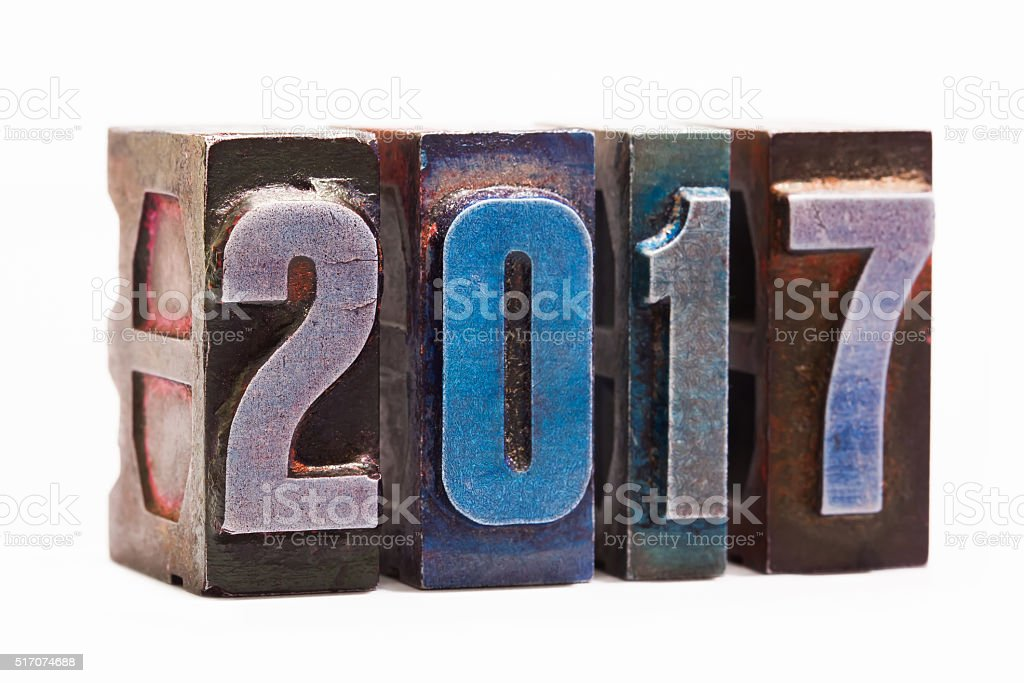 Happy new year 2017 greeting card with colorful retro letterpress stock photo