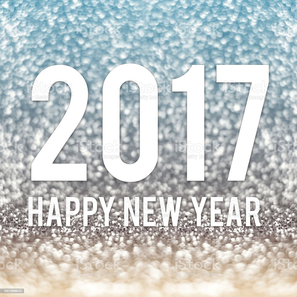 happy new year 2017 in blue and gold sparkling glitter stock photo