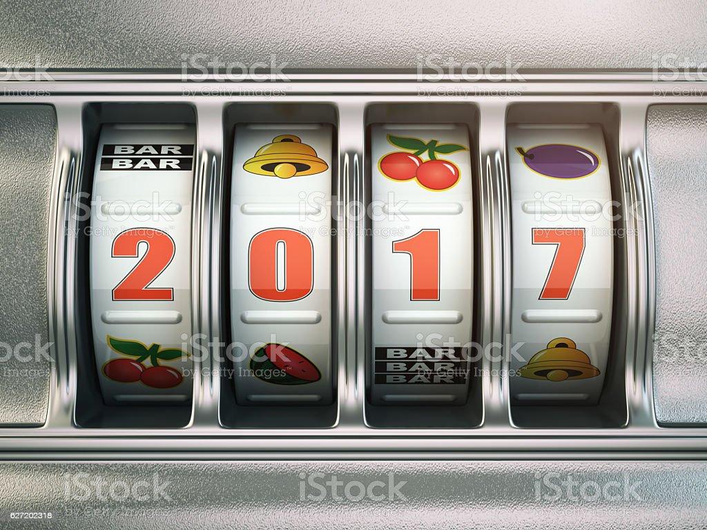 Happy New Year 2017 in casino. Slot machine stock photo