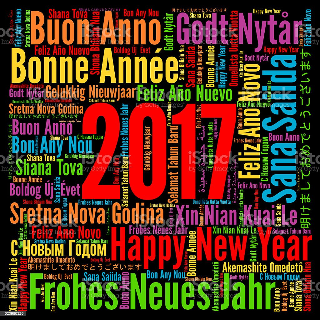 Happy New Year 2017 in different languages stock photo