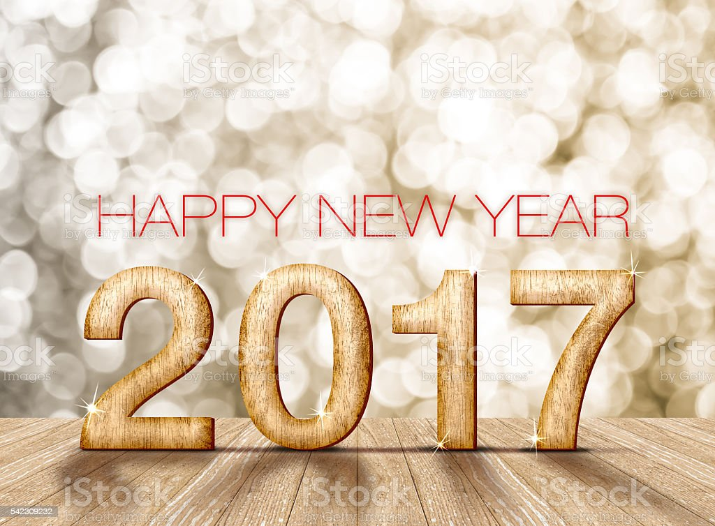 Happy new year 2017 number in perspective room with sparkli stock photo