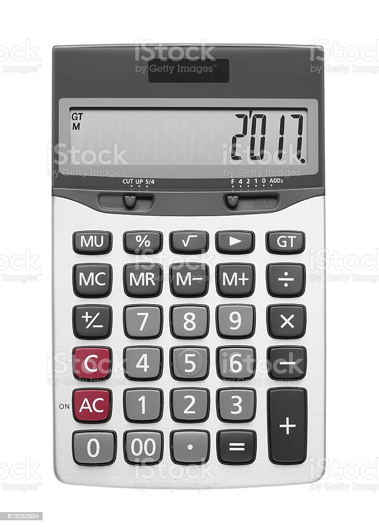 Happy New Year 2017 on Calculator and Top View stock photo