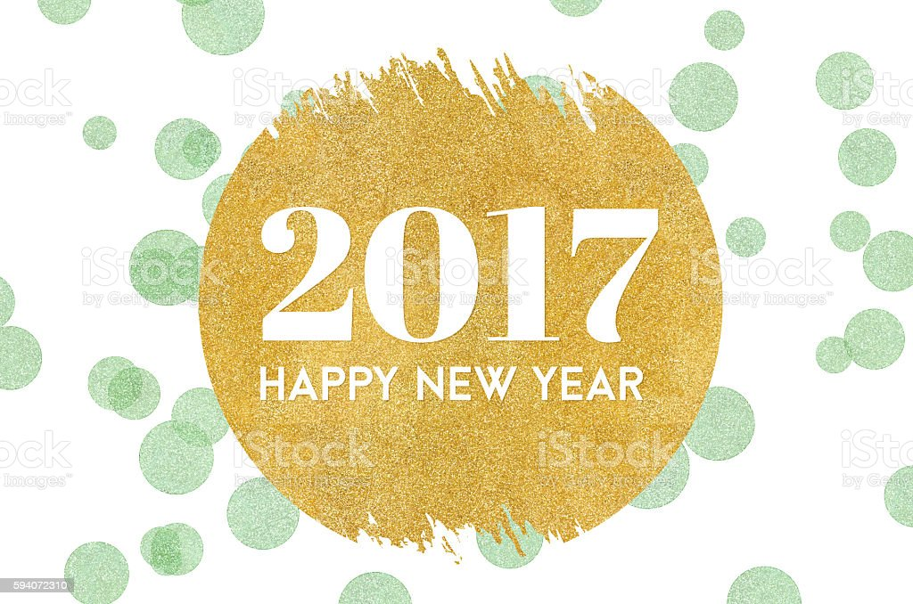 Happy new year 2017 on gold circle glitter on green stock photo