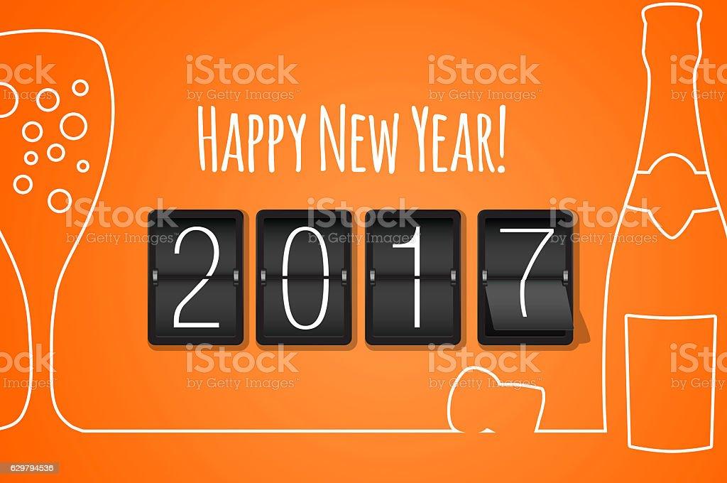 Happy new year 2017 orange line art background stock photo