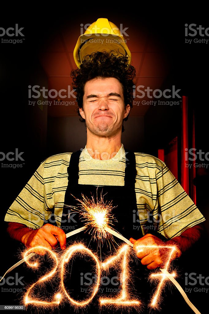 Happy New Year 2017 (from an electrician) stock photo