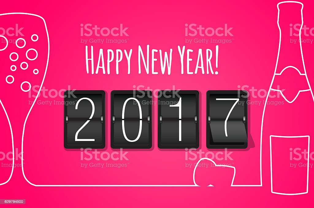 Happy new year 2017 pink line art background stock photo