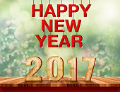 Happy new year 2017 red text  hanging over table