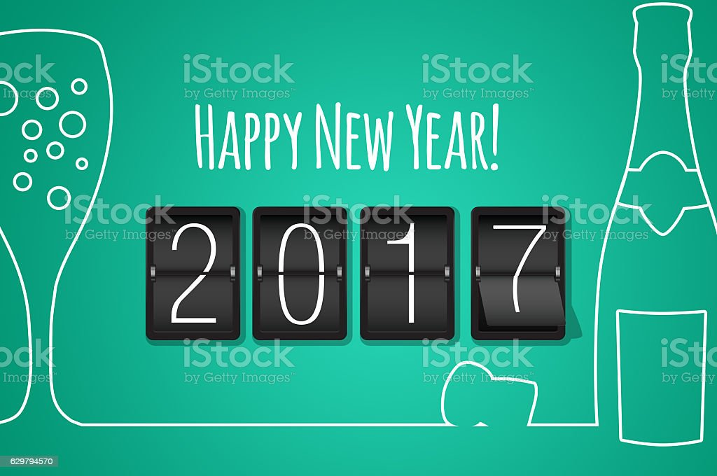 Happy new year 2017 turquoise line art background stock photo
