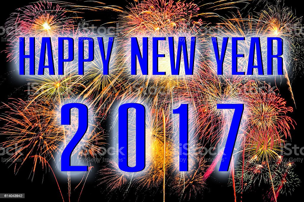 Happy New Year 2017 with colorful firework background stock photo