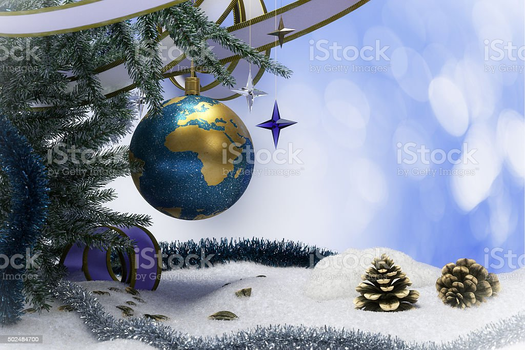 Happy New Year and Merry Christmas background with earth stock photo