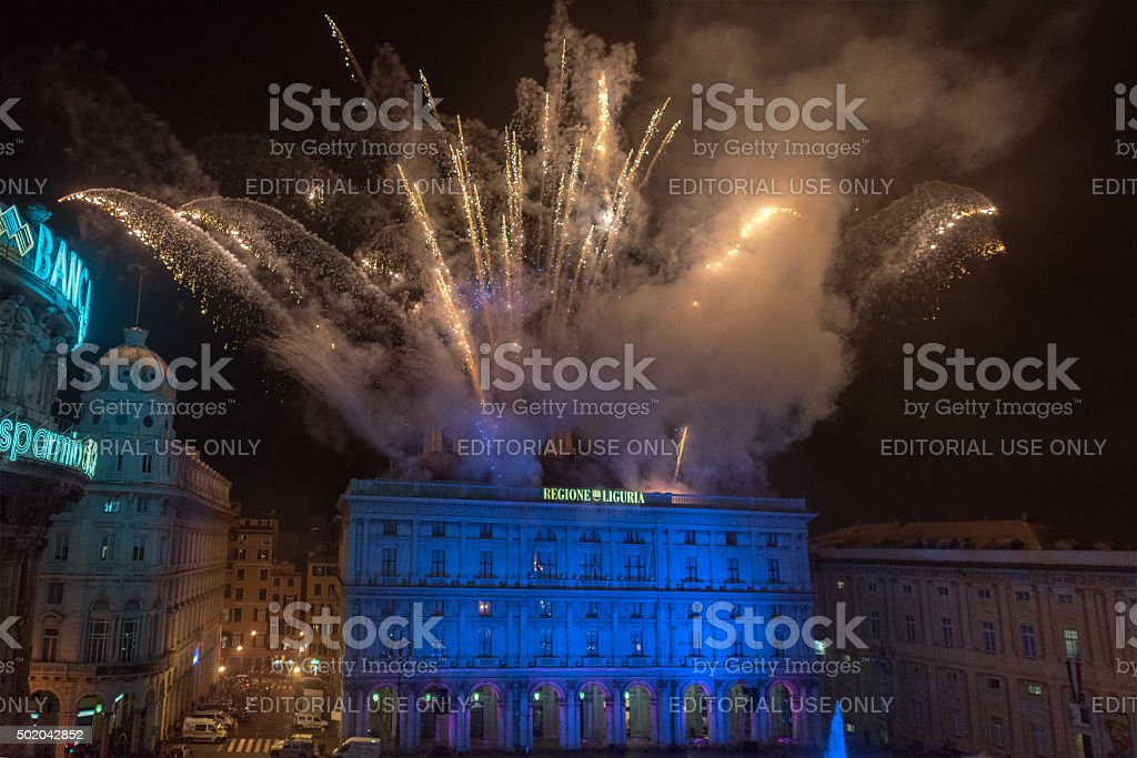 Happy new year and merry xmas fireworks stock photo