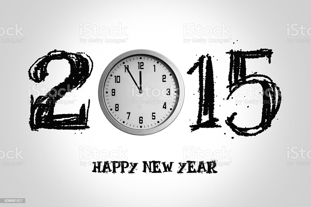 Happy New Year background with clock 2015 stock photo