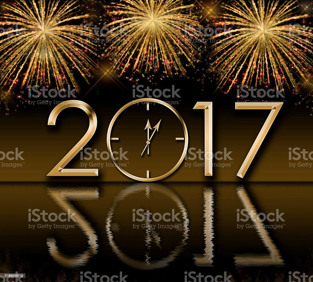 2017 Happy New Year background  with fireworks and gold clock stock photo