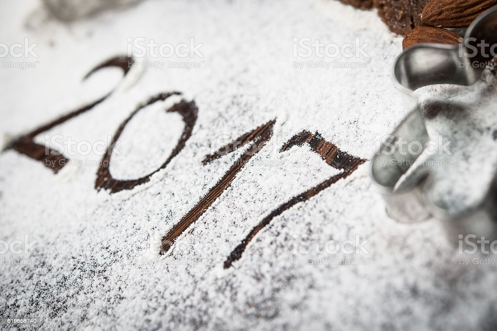 Happy New Year background with gingerbread cookies stock photo