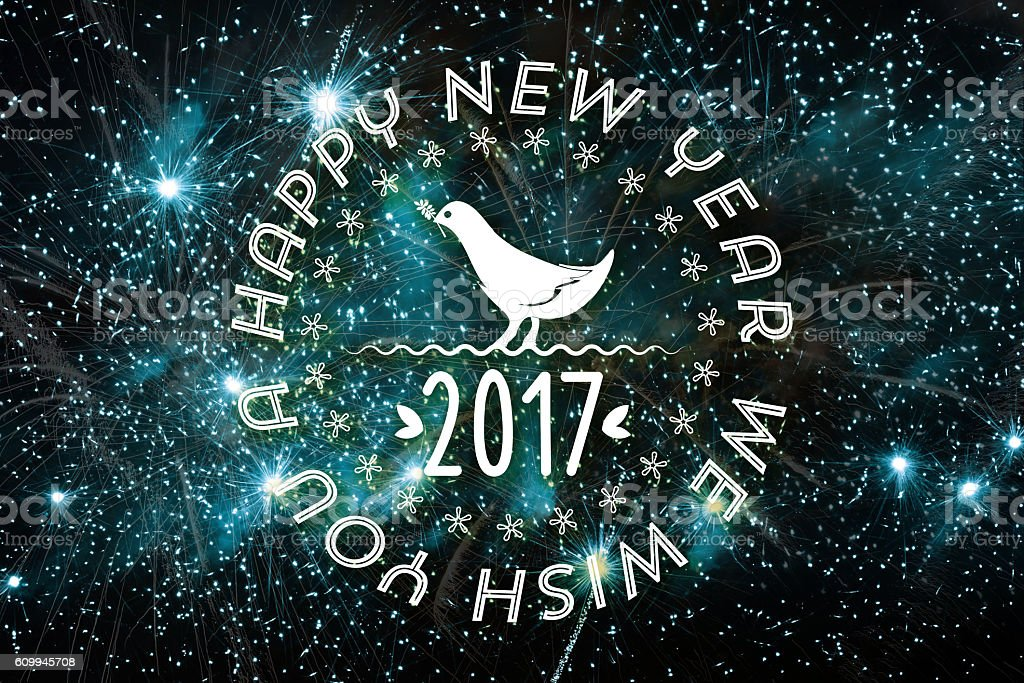 happy new year badge with dove on vibrant sky background stock photo