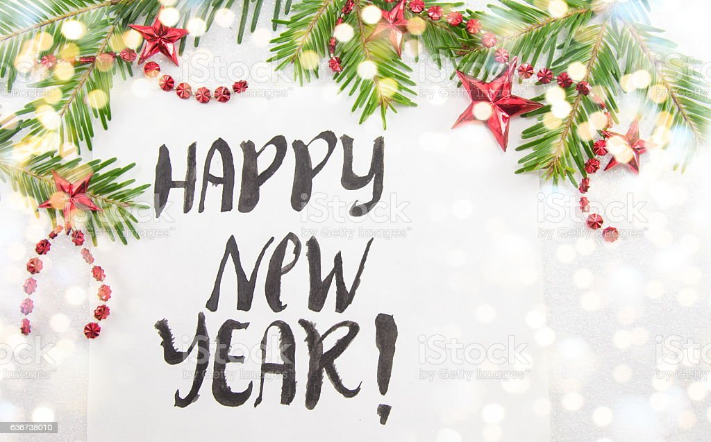 Happy New Year card with Christmas decoration stock photo
