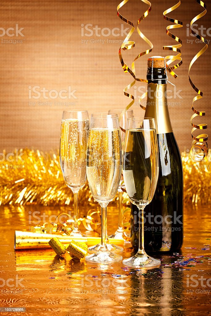 Happy New Year - champagne and party decoration royalty-free stock photo