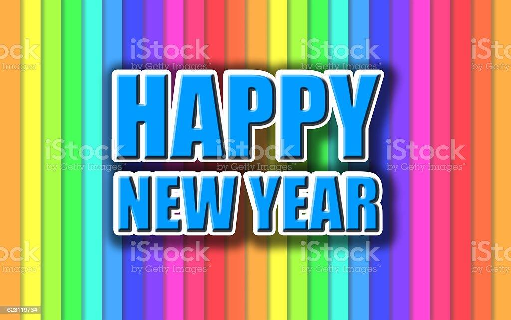Happy New Year colorful celebration background. stock photo