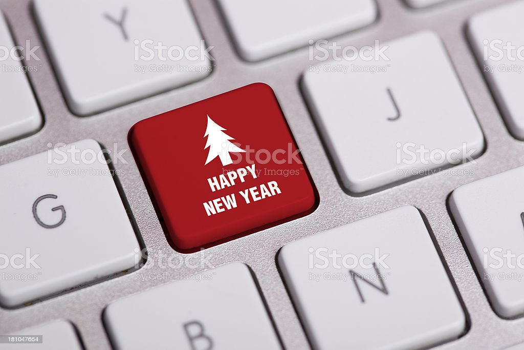 Happy New Year Concept on Keyboard royalty-free stock photo