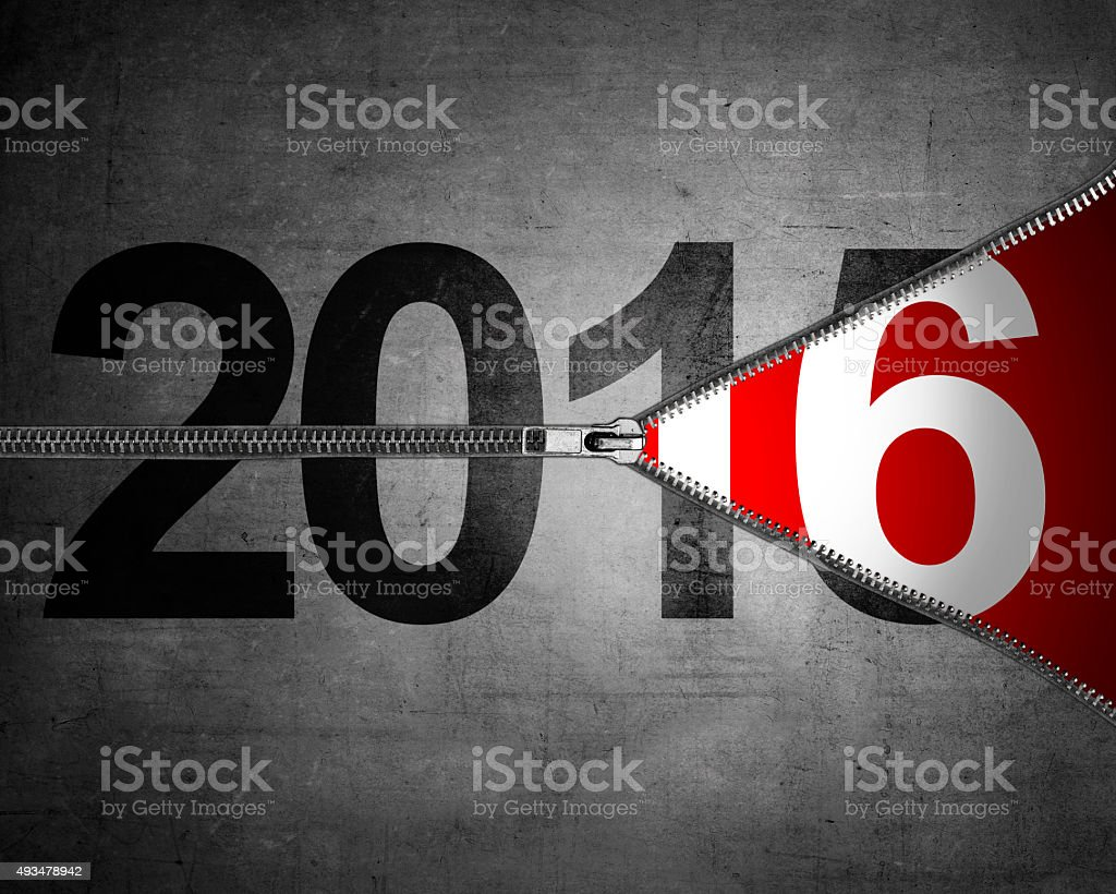 Happy new year concept. 2015 year change just unzip to 2016