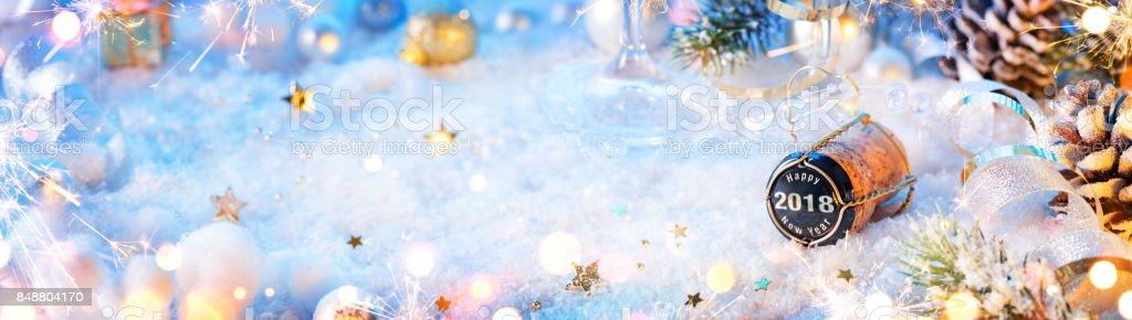 2018 Happy New Year - Cork On Snow stock photo
